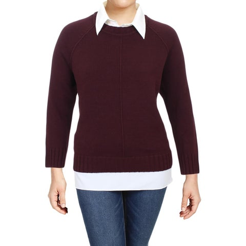 Lauren Ralph Lauren Womens Plus Gristin Pullover Sweater Layered Ribbed Knit
