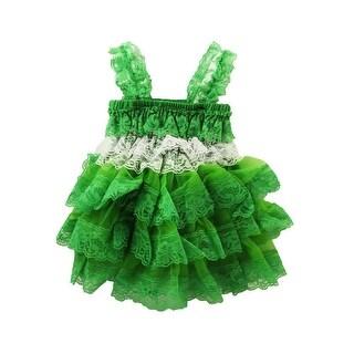 Baby Girls Kelly Green White Lace Ruffle Precious Dress 6-24M