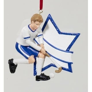 "3"" Blue Boy Field Hockey Star Christmas Ornament for Personalization"