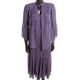 R&M Richards Womens Plus Georgette Mother of the Bride Dress With Jacket - 18W