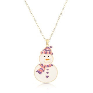 Lily Nily Girl's Smiling Snowman Pendant - Purple