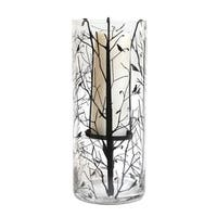 """14"""" Bird and Tree Decal Suspended Glass Pillar Candle Holder - Clear"""