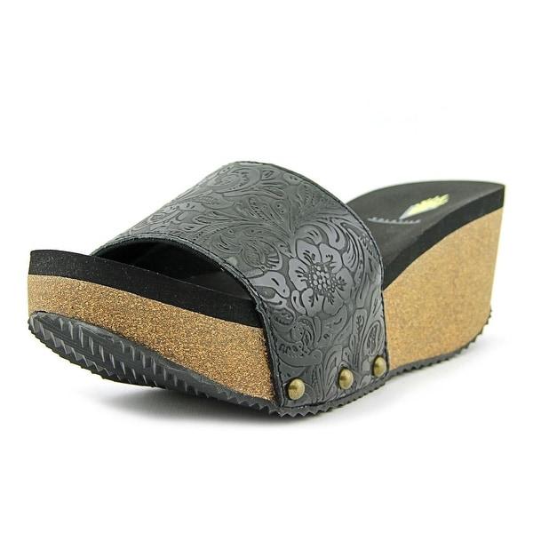 Volatile Emboss Open Toe Leather Slides Sandal