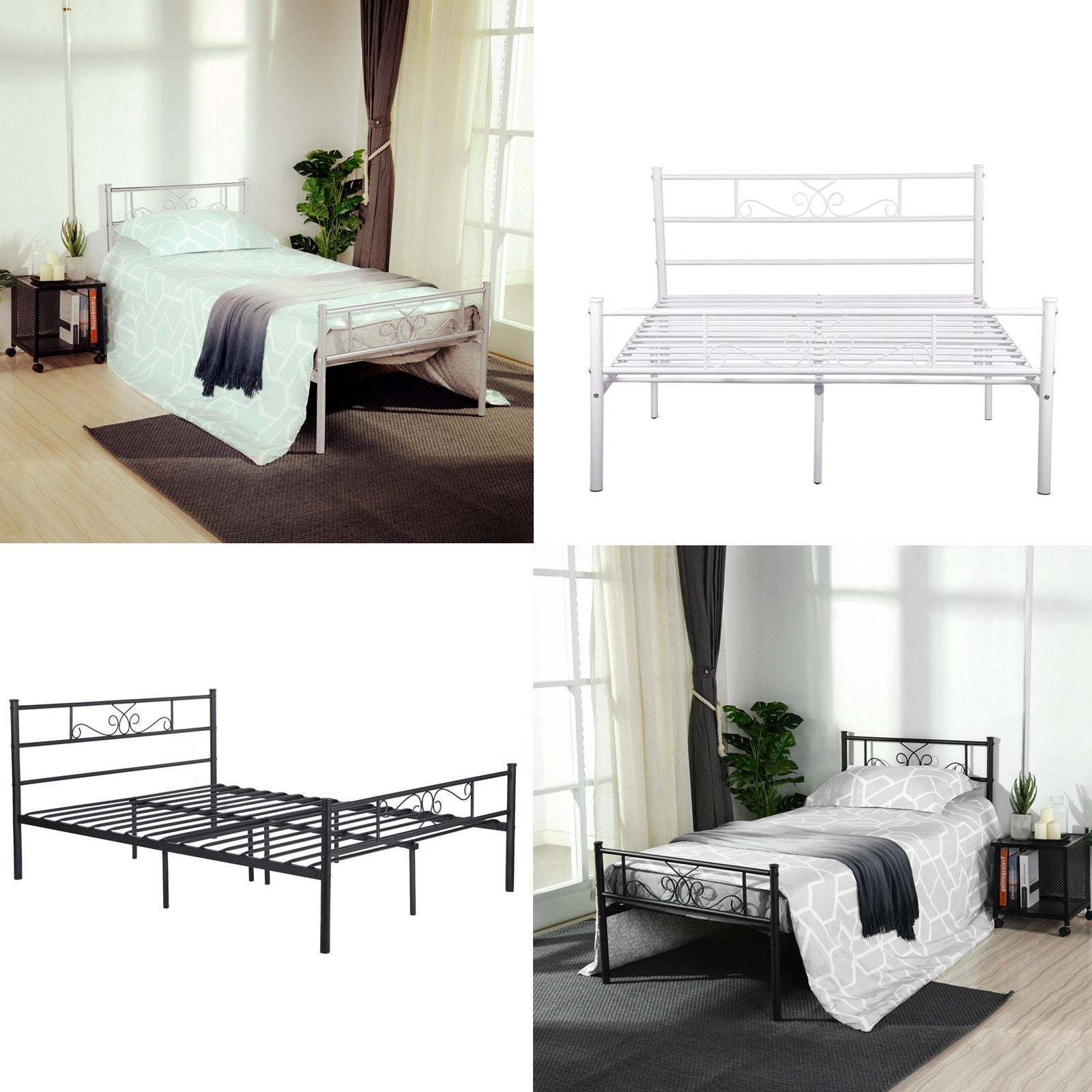 Twin/Full Easy Set Up Premium Metal Bed Frame Platform Box Spring  Replacement With Headboard And Footboard