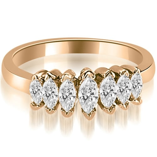 1.01 cttw. 14K Rose Gold Marquise Diamond 7-Stone Wedding Band