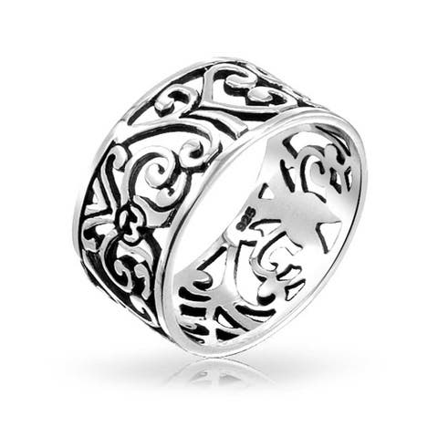 Boho 925 Sterling Silver Open Swirl Filigree Wide Band Ring 7MM