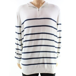 Club Room NEW White Ivory Blue Mens Size 2XL 1/2 Zip Stripe Sweater