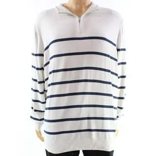 Club Room NEW White Mens Size Medium M 1/2 Zip Striped Silk Sweater|https://ak1.ostkcdn.com/images/products/is/images/direct/4b9e99b88bf1ee478c063eae2bf8b07365e3c002/Club-Room-NEW-White-Mens-Size-Medium-M-1-2-Zip-Striped-Silk-Sweater.jpg?impolicy=medium