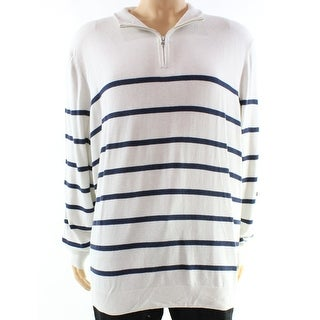 Club Room NEW White Navy Mens Size 2XL 1/2 Zip Striped Knit Sweater