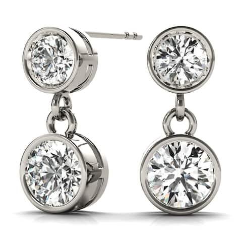 Amcor Design 14K Gold 1/2 CT Two-Stone Bezel Set Round Cut Diamond Stud Earrings