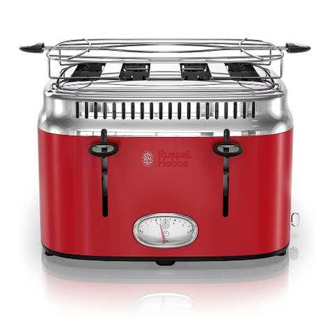 Russell Hobbs 4-Slice Stainless Steel Retro Style Toaster (Red)