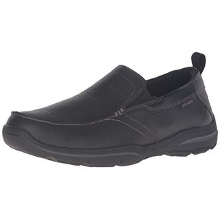 Skechers Men's Harper Delen Slip-On Loafer,Black Leather