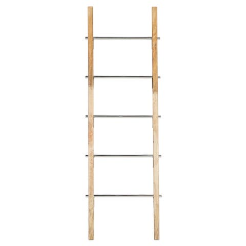 """Wooden Ladder With Silver Stainless Steel Handles 19"""" X 50"""" - 19 x 2 x 59"""