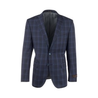 Dolcetto Navy Blue with Royal Blue Windowpane Modern Fit, Pure Wool Jacket by Tiglio Luxe 74232/1 (5 options available)