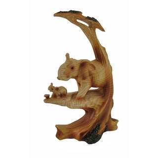 Trunk Up Mother Elephant and Calf Faux Wood Carving Statue - 9 X 5.75 X 3.25 inches