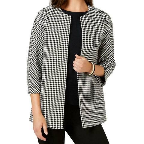 Anne Klein Womens Jacket Black Size 14 Collarless Houndstooth-Print