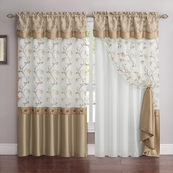 """Andrea Embroidered Rod Pocket Window Curtain Panel with Attached Valance & Faux Silk Backing - 55"""" x 90"""". Opens flyout."""