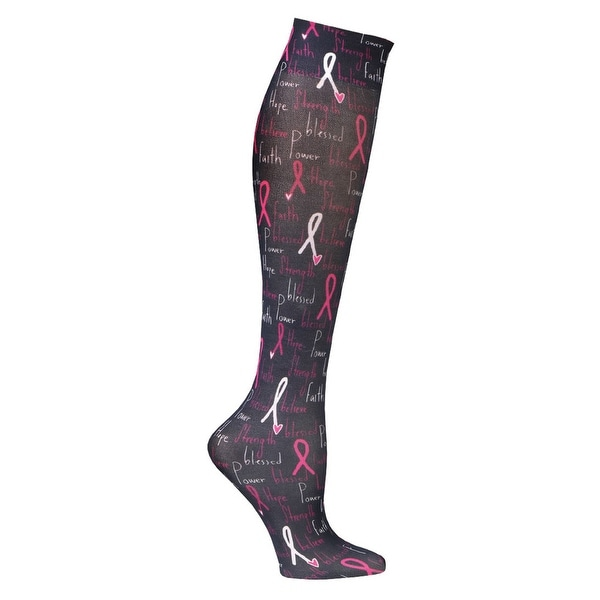 Celeste Stein Moderate Compression Knee High Stockings Wide Calf-Breast Cancer - Medium