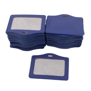 Unique Bargains Faux Leather School Office Horizontal Business ID Badge Card Holder Blue 50Pcs