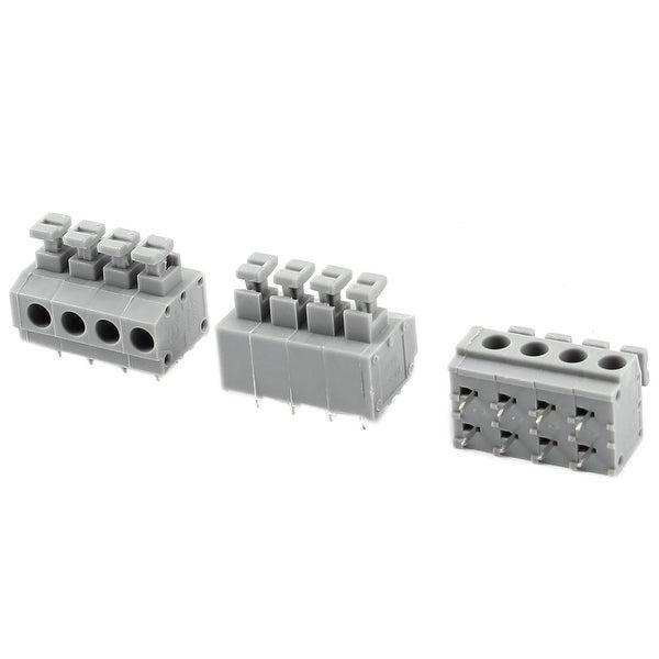 3 Pieces 5.0mm 4 Ways PCB Mount Screwless Spring Terminal Blocks 250V 10A