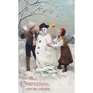 Christmas Joy Kids Snowman Vintage Holiday (100% Cotton Towel Absorbent)