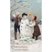 Christmas Joy Kids Snowman Vintage Holiday (Art Print - Multiple Sizes)