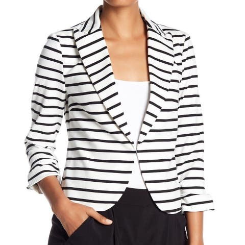 Amanda + Chelsea Women's Jacket White Size 10 Striped Kiss Front