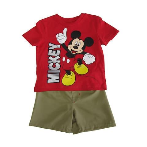 b1311898 Disney Little Boys Khaki Red Mickey Mouse Print T-Shirt 2 Pc Shorts Set