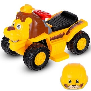 Costway 6V Electric Kids Ride On Lion Vehicle Animal Toddler Car w/ Sound & Helmet New - Yellow