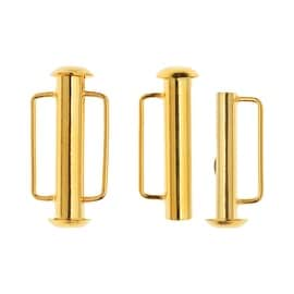 Slide Tube Clasps, with Bar Loops 21.5x10.5mm, 2 Pieces, 22K Gold Plated