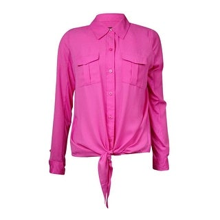 INC International Concepts Women's Mix-Media Tie-Front Blouse - pink pop