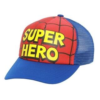 Kids Toddler Spider Hero Mesh Trucker Hat - Red w/ Blue