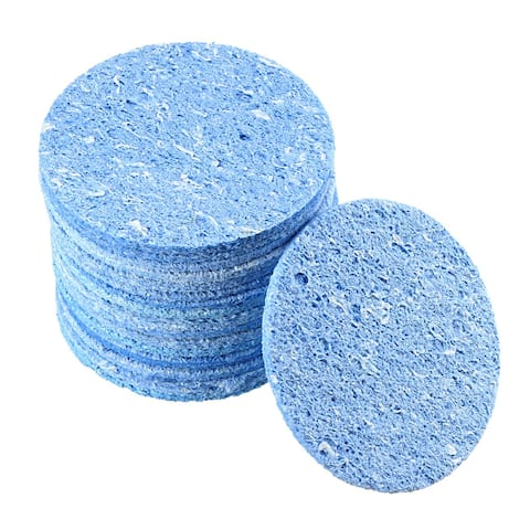 Soldering Sponge 55x55x11mm for Iron Tips Cleaner, Round Blue 20pcs - Round 20pcs