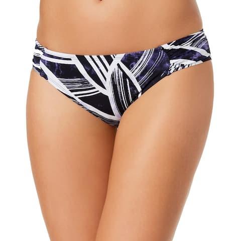 La Blanca Womens Bali Hai Printed Shirred Bikini Bottom 4 Midnight