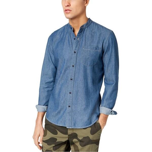 American Rag Navy Mens Medium Chambray Button Shirt