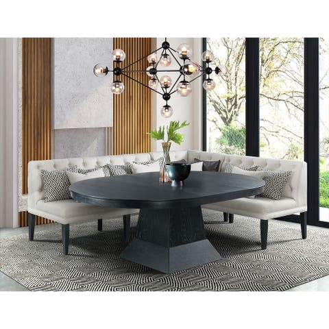 Picket House Furnishings Mara 4PC Oval Dining Table Set-Table, Corner, Loveseat, & Sofa
