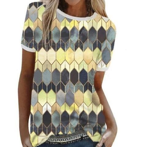 Geometric Print Striped Short Sleeved T-Shirt Top