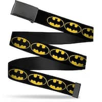 "Blank Black 1.25"" Buckle Bat Signal 2 Black Yellow Black Webbing Web Belt 1.25"" Wide - M"
