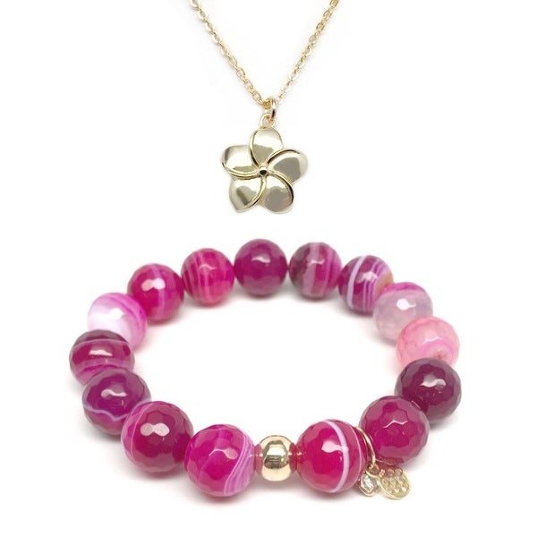 Fuchsia Agate Bracelet & Flower Gold Charm Necklace Set