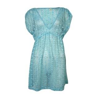 Miken Women's V Neck Crochet Dress Swimsuit Cover (XS, Aqua)