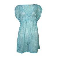 Miken Women's V-Neck Crochet Dress Swimsuit Cover Up(XS, Aqua) - Aqua - XS