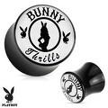 """Bunny Thrills"" Playboy Exclusive Pattern Black Acrylic Saddle Plug (Sold Individually) - Thumbnail 0"