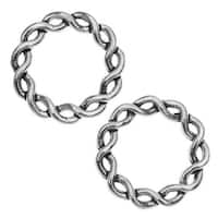 Lead-Free Pewter, Love Knot Ring Beads 20mm, 2 Pieces, Antiqued Silver