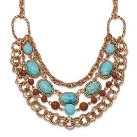 Copper Aqua & Brown Beads Multistrand Necklace - 16in