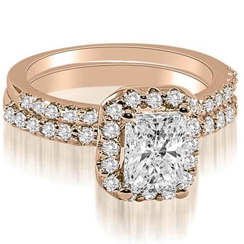 1.59 cttw. 14K Rose Gold Emerald Cut Halo Diamond Bridal Set