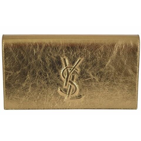 Saint Laurent YSL 361120 Gold Leather Large Belle de Jour Clutch Handbag