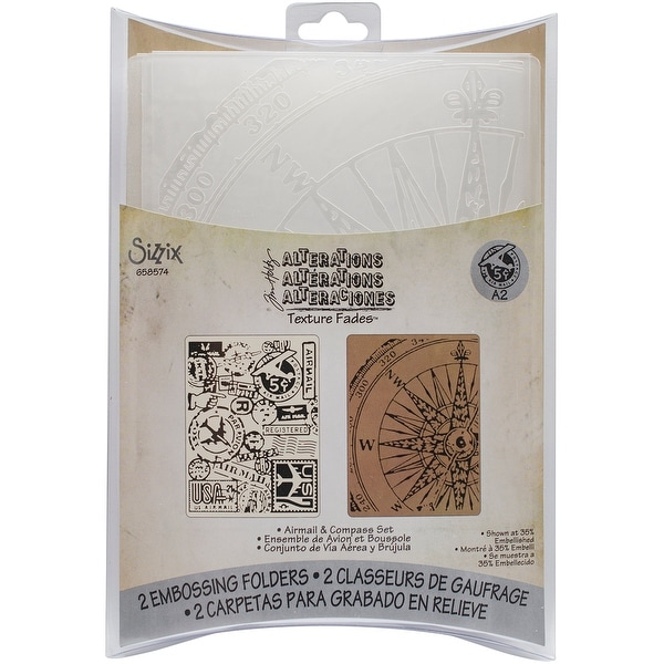Sizzix Texture Fades A2 Embossing Folders 2/Pkg-Airmail & Compass By Tim Holtz
