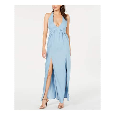 GUESS Womens Light Blue Sleeveless V Neck Maxi Sheath Dress Size M
