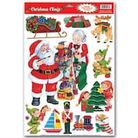 "Club Pack of 132 Assorted Santa's Workshop Window Clings Christmas Decorations 17"" - multi"