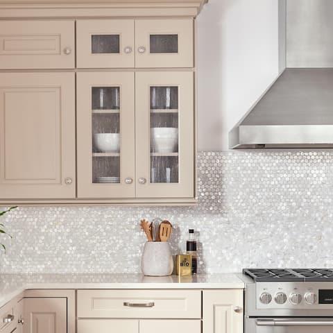 "SomerTile Conchella Penny White 11.25"" x 1.63"" Natural Seashell Mosaic Tile"